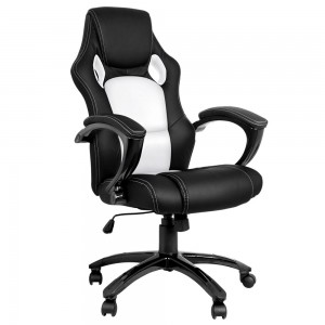 Executive-PU-Leather-Office-Computer-Chair-Black-White