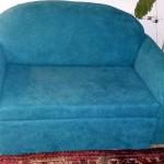 renowacja kanapy w turkusowy materiał  z fakturą boucle  wyk. własne TAPICERSTWO ŁÓDŹ