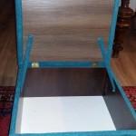 renowacja pufy z pojemnikiem w turkusowy materiał  z fakturą boucle  wyk. własne TAPICERSTWO ŁÓDŹ