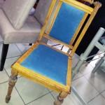 piskowana stolarka krzesła i turkusowa tkanina  wyk własne TAPICERSTWO ŁÓDŹ